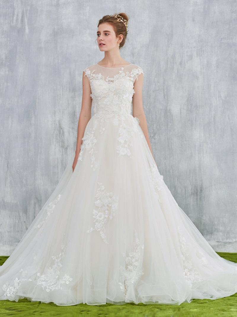 Ericdress Sheer Neck Cap Sleeve Appliques Wedding Dress