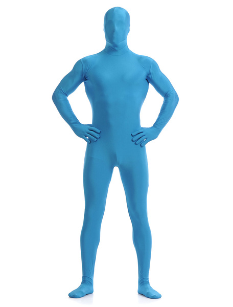 Milanoo Blue Zentai Suit Adults Morph Suit Full Body Lycra Spandex Bodysuit for Men