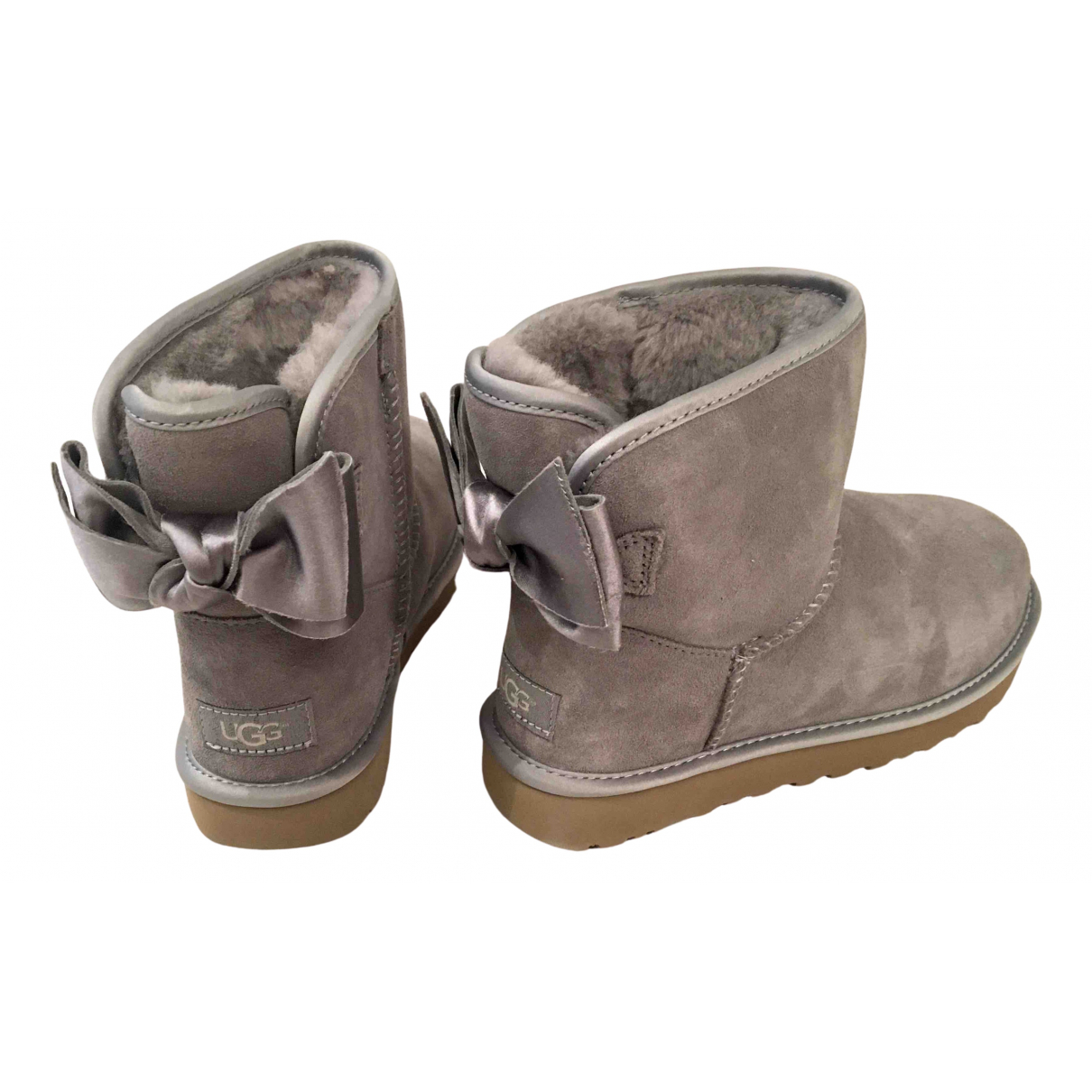 Ugg \N Grey Leather Boots for Women 6 UK