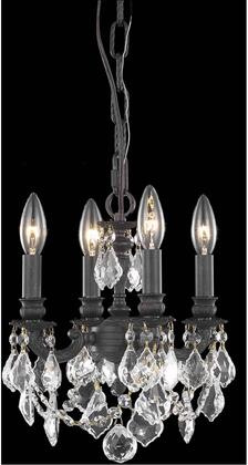 9104D10DB/EC 9104 Lille Collection Hanging Fixture D10in H10in Lt: 4 Dark Bronze Finish (Elegant Cut