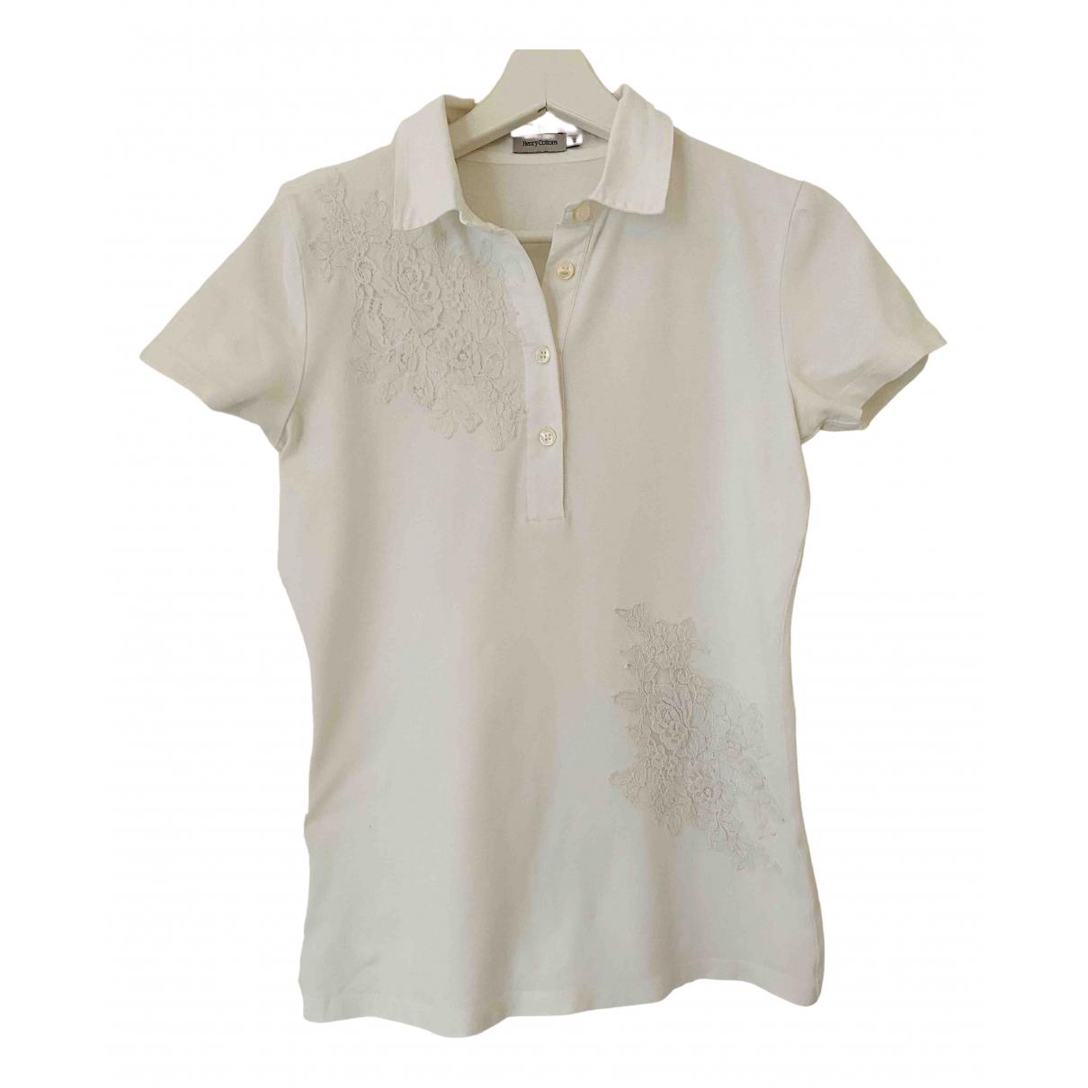 Henry Cotton - Top   pour femme en coton - blanc