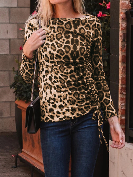 Yoins Celmia Leopard Drawstring Round Neck Long Sleeves Tee