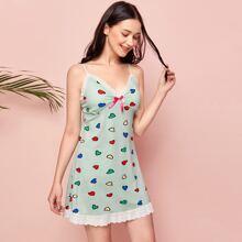 Schiffy Trim Heart Print Cami Dress