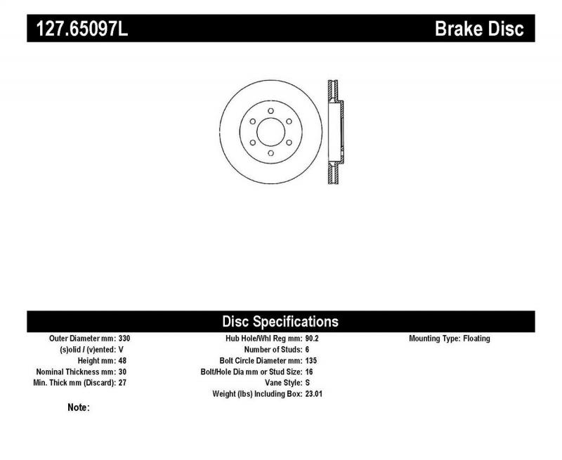 StopTech 127.65097L Sport Drilled/Slotted Brake Rotor; Front Left Lincoln Navigator Front Left 2003-2006