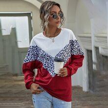 Leopard Print Colorblock Batwing Sleeve Sweatshirt