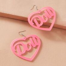 1pair Letter Decor Heart Drop Earrings