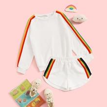 Girls Rainbow Striped Tape Pullover & Sweat Shorts Set