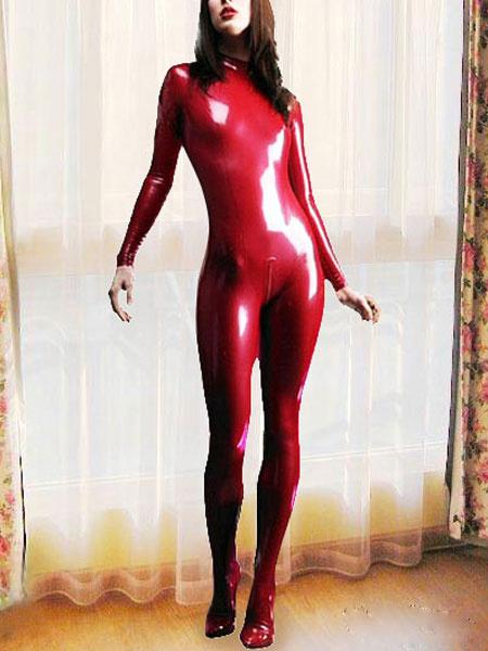 Milanoo Disfraz Halloween Sexy Latex Catuit Rojo Catwoman Disfraz Cosplay Halloween