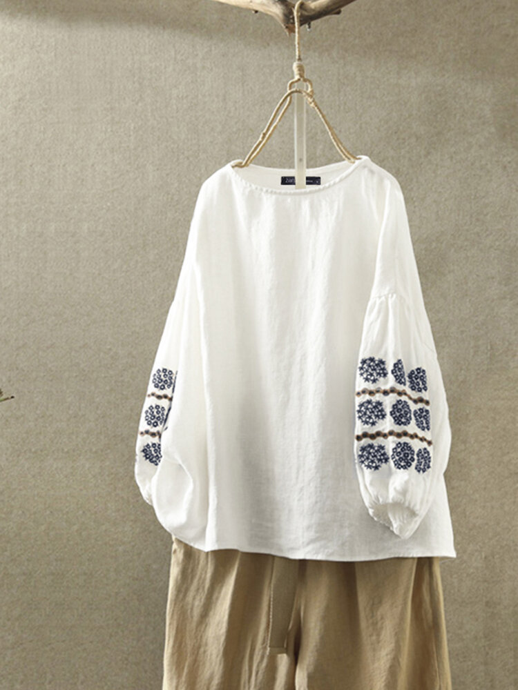 Vintage Embroidery Long Sleeve Plus Size Blouse