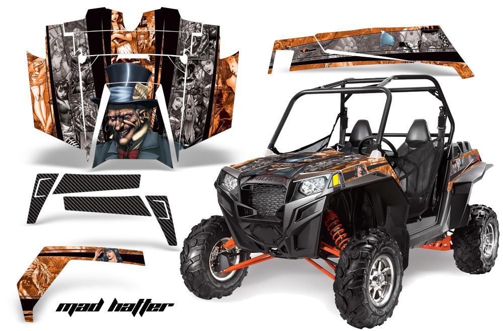 AMR Racing  Full Custom UTV Graphics Decal Kit Wrap Mad Hatter Silver/Orange Polaris RZR XP 900 11-14