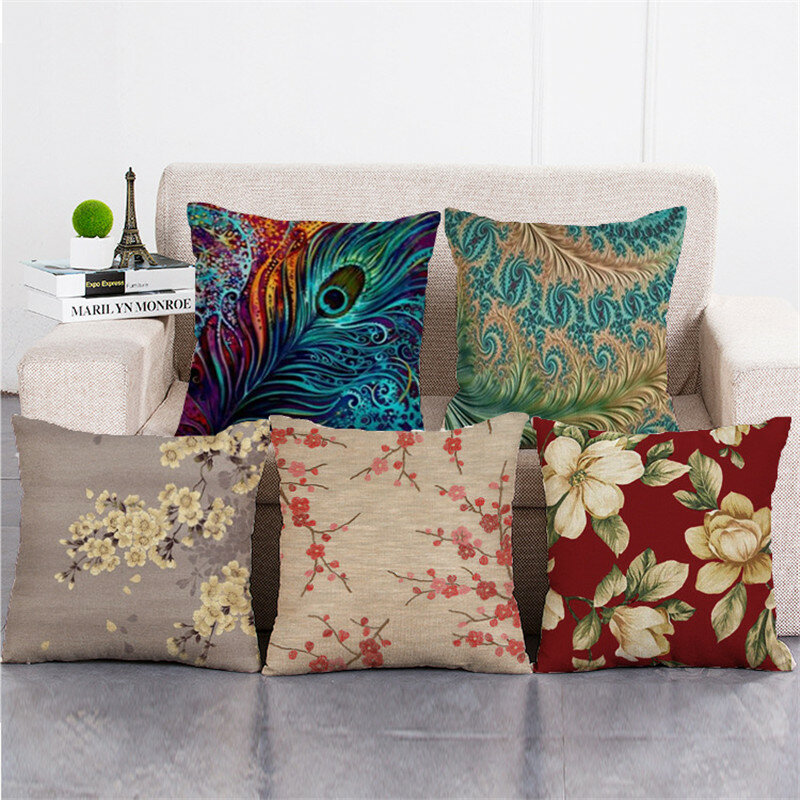 Cotton Linen Cushion Cover Square Home Decorative Peacock Flower Pattern Pillow Cases