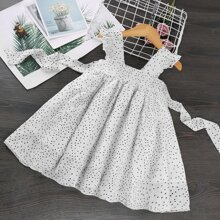 Toddler Girls Polka Dot Ruffle Trim Belted Dress
