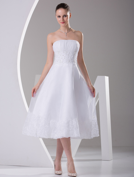 Milanoo Simple Wedding Dresses White Strapless A Line Satin Short Wedding Reception Dress