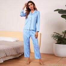 Striped Button Up Satin Pajama Set