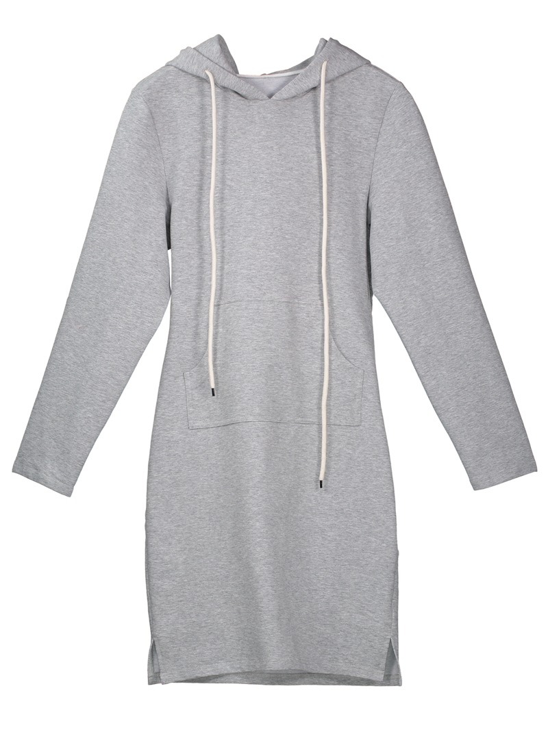 Drawstring Kangaroo Pocket Hooded Women's Bodycon Dress