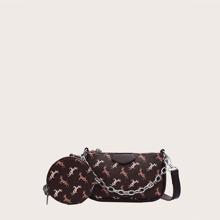 2pcs Deer Graphic Satchel Bag Set