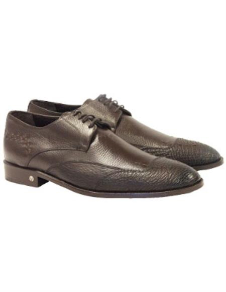 Vestigium Men's Faded Brown Genuine Sharkskin Derby Shoes