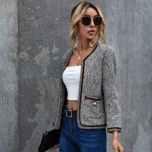 Contrast Binding Plaid Tweed Jacket