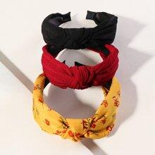 3pcs Flower Pattern Cross Knot Hair Hoop