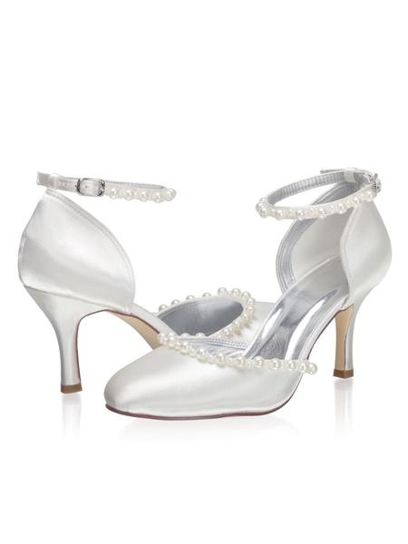Milanoo Zapatos de novia de saten Zapatos de Fiesta de tacon de stiletto Zapatos Marfil Zapatos de boda de puntera redonda 8cm con perlas