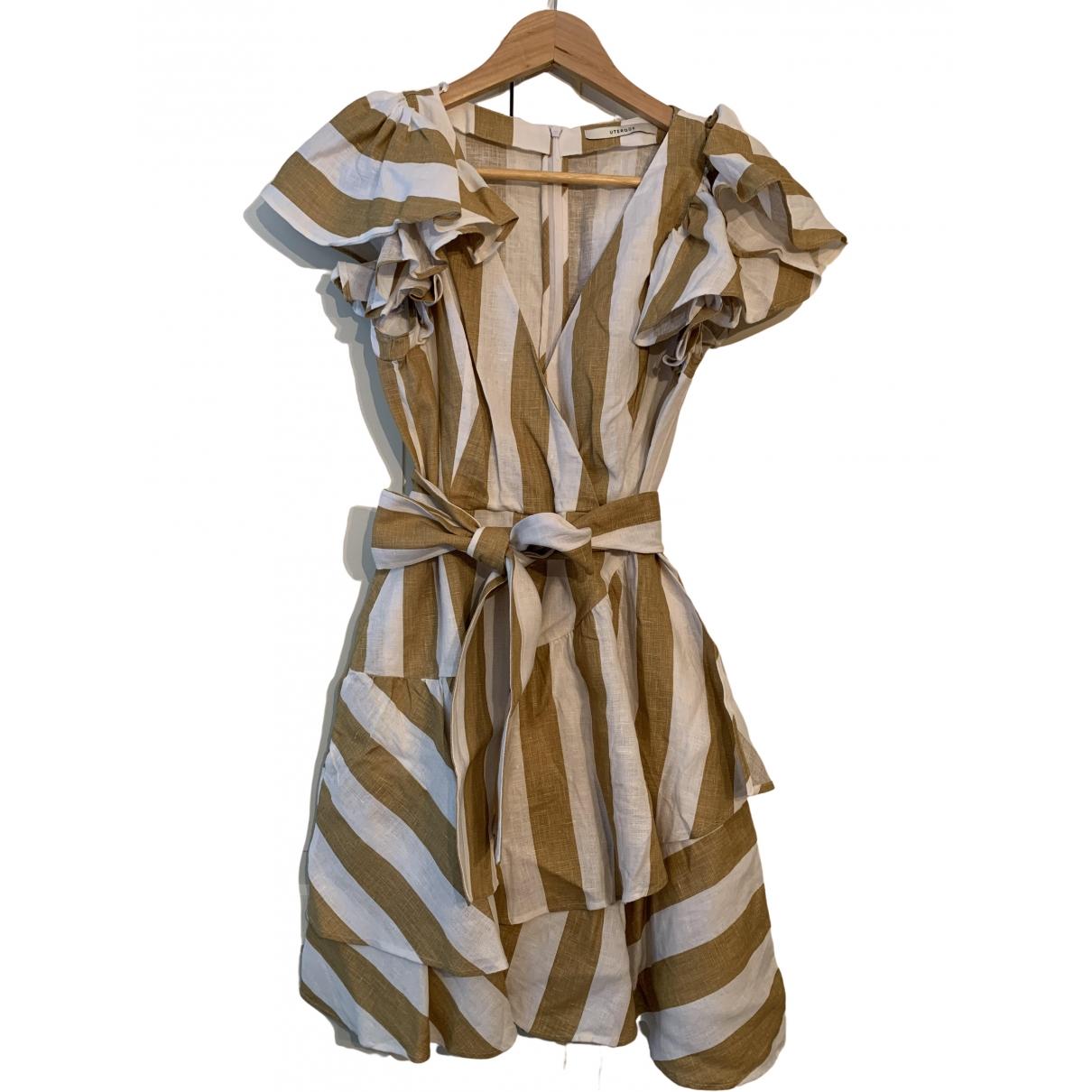 Uterque \N Kleid in  Bunt Leinen