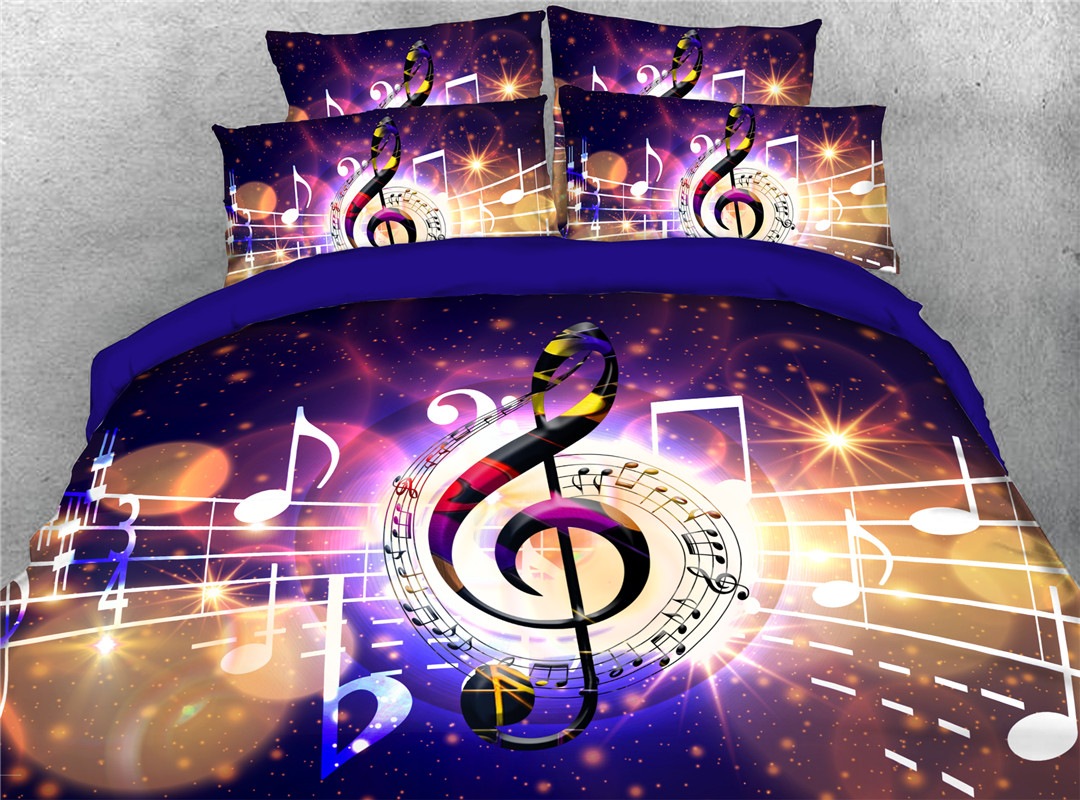 Musical Notes Hand Wash Four-Piece Set Duvet Cover Set Skin-friendly All-Season Polyester Bedding Sets