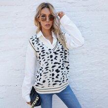 Pullover Weste mit Grafik Muster und Streifen am Saum