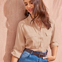 Flap Pockets Rolled Sleeve Utility Blouse