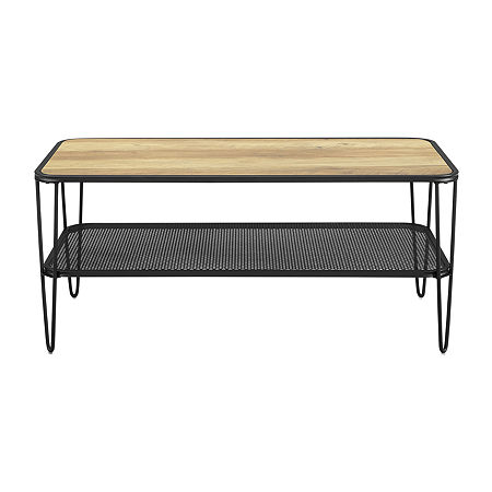 Modern Metal Shelf Square Coffee Table, One Size , Brown