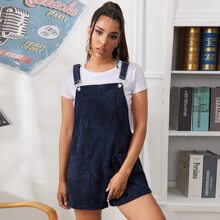 Pocket Front Cord Overall Shorts