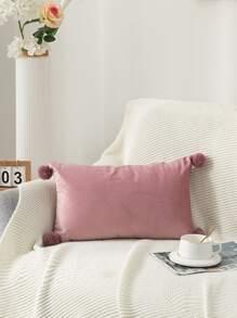Pom Pom Decor Lumbar Pillow Without Filler