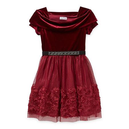 Knit Works Big Girls Short Sleeve Off Shoulder Skater Dress, 10 , Red