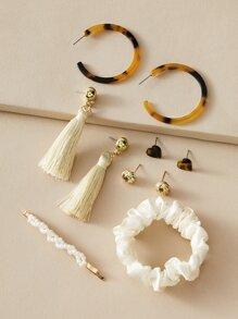 4pairs Heart & Tassel Decor Earrings & Hair Clip & Scrunchie