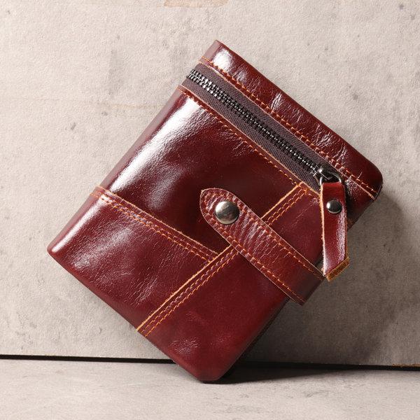 Men Vintage Genuine Leather Stitching Zipper 11 Card Slots 3 Folds Wallet