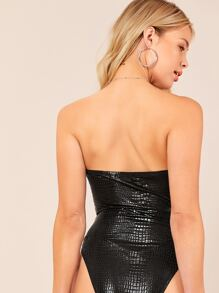 Crocodile Embossed Tube Bodysuit