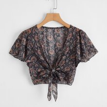 Knot Front Tribal Print Crop Top