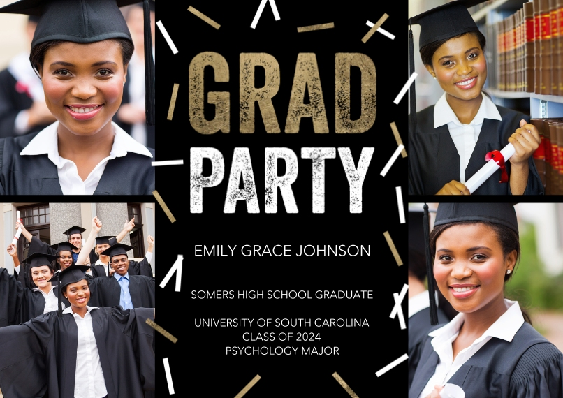 Graduation Invitations 5x7 Cards, Premium Cardstock 120lb with Rounded Corners, Card & Stationery -Grad Party Scattered Confetti by Tumbalina