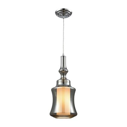 56503/1 Alora 1 Light Pendant in Polished Chrome with Opal White and Smoke Plated