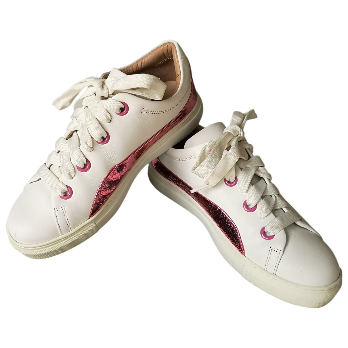 Twin Set N White Leather Trainers for Women 37 EU