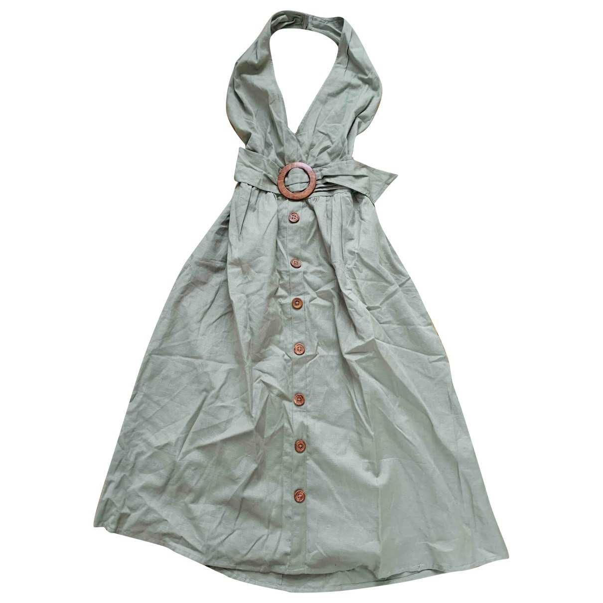 Asos \N Kleid in  Khaki Baumwolle