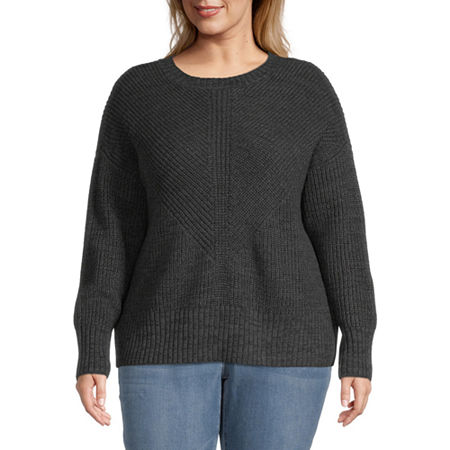 a.n.a-Plus Womens Crew Neck Long Sleeve Pullover Sweater, 5x , Black