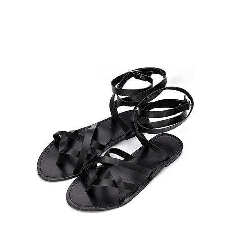 Yoins Black Pin Buckle Tie-up Ankle Strap Cross Over Strap Flat Gladiator Sandals