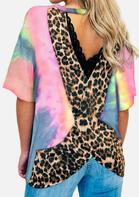 Tie Dye Leopard Splicing Open Back Blouse