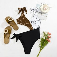 Polka Dot Cut-out Self Tie One Piece Swimsuit