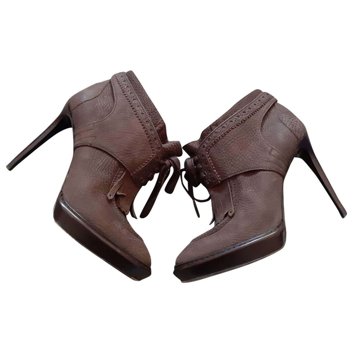 Burberry \N Brown Leather Ankle boots for Women 38.5 EU
