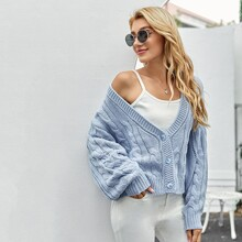 Button Front Cable Knit Oversized Cardigan
