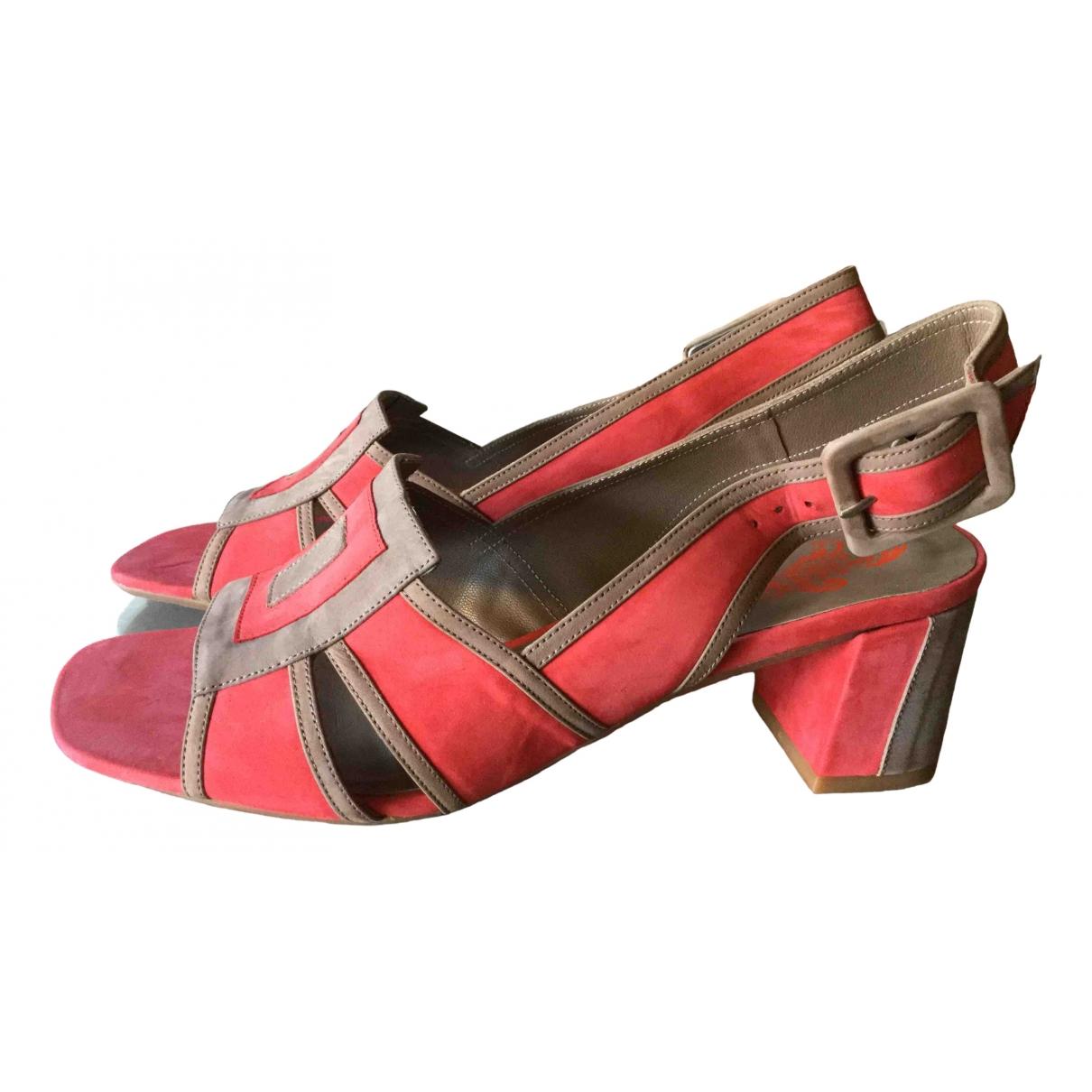 - Sandales   pour femme en suede - multicolore