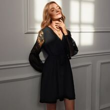 Contrast Lace Belted Surplice Front Dress
