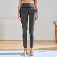 Mesh Panel Topstitching Sports Leggings