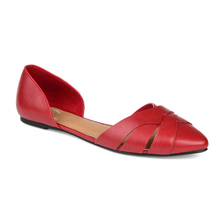 Journee Collection Womens Brandee Slip-on Pointed Toe Ballet Flats, 7 1/2 Medium, Red